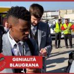 Barcellona, giocatori in partenza per Napoli sulle note di Raffaello