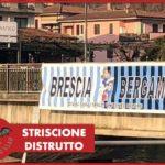 """FOTO - Tagliato lo striscione che """"univa"""" Bergamo e Brescia"""